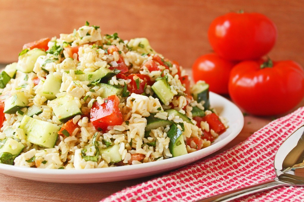 gastrogirl:  tomato, basil, and cucumber salad with feta and rice.