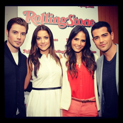 Josh Henderson, Julie Gonzalo, Jordana Brewster and Jesse Metcalfe from #DallasTNT stopped by our office to talk about their new show. Read about the return of 'Dallas' on Rollingstone.com. (Taken with Instagram)