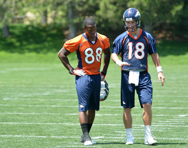 Broncos quarterback Peyton Manning speaks to wide receiver Demaryius Thomas following organized team activities at the Broncos training facility. The success of Denver this year hinges on the success of Manning, says SI's Chris Burke. (Ron Chenoy-US PRESSWIRE) BURKE: Broncos success and failure hinge on Peyton's neckTRUTH AND RUMORS: Manning clearly not at 100 percentGALLERY: Rare Photos of Peyton Manning
