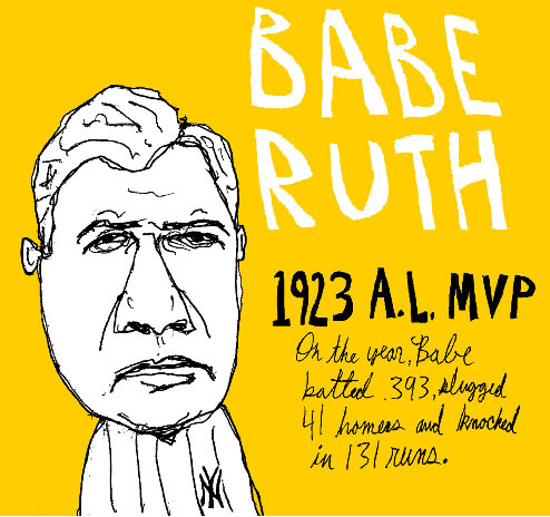Tumblr fan jyekn with a Babe Ruth A.L. MVP 1923 drawing