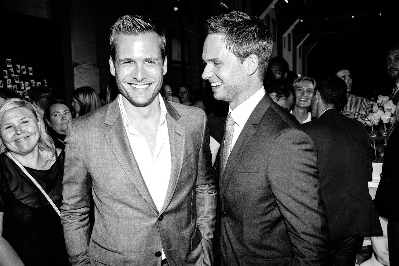 Mr Gabriel Macht and Mr Patrick J Adams at last night's MR PORTER/USA Network Suits & Style Fashion Show