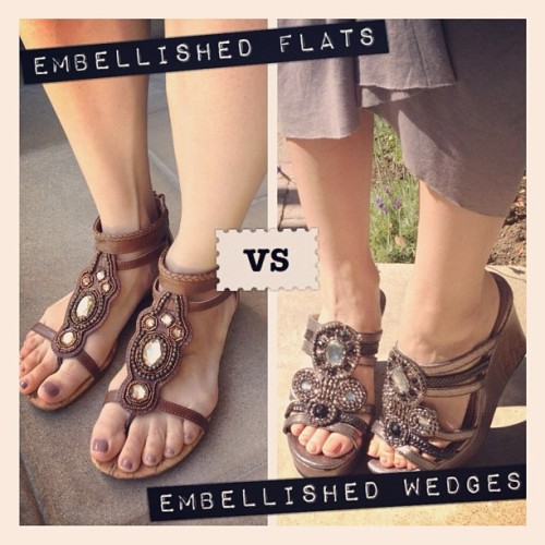 Which would you choose?! #embellished Jellypop Alesti flats or Geno wedges?! | Available at www.shopjellypop.com  (Taken with Instagram)