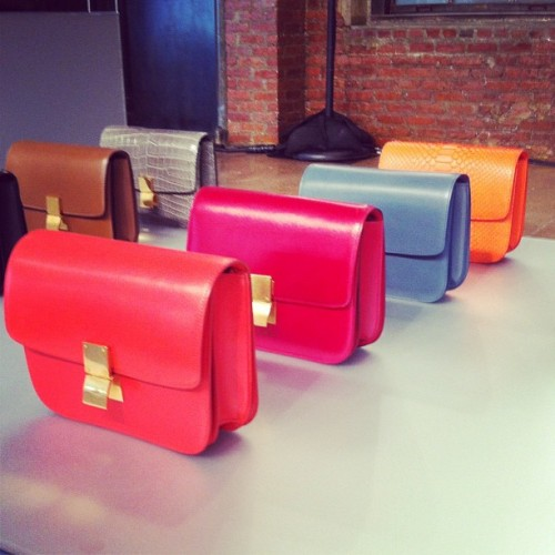 A rainbow spectrum of Celine bags, photographed by our accessories ed Maria Dueñas Jacobs.