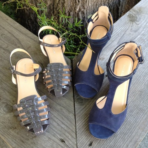 New Summer woven sandals in smoke & navy t-bar wedges!  (Taken with Instagram at Curator)