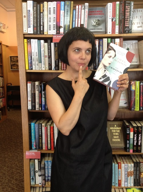 Bookseller Beth Golay at Watermark Books in Wichita, Kansas (Louise Brooks' hometown) gets into the Louise Brooks look with Laura Moriarty's The Chaperone in hand.