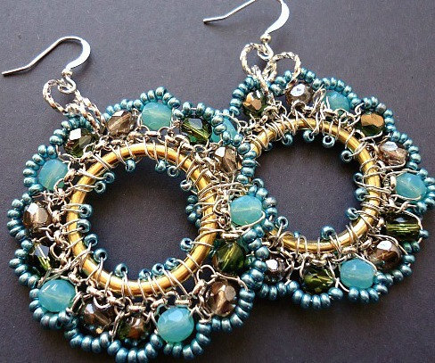 Aqua Wire Wrapped Earrings Hoops in Silver by BohemiaJewelry on We Heart It. http://weheartit.com/entry/27181634