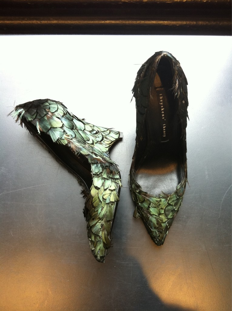 """Feather shoes at my Theyskens' Theory resort appointment.""—@wmagnora Click here to see more from Resort 2013 on Wmag.com"