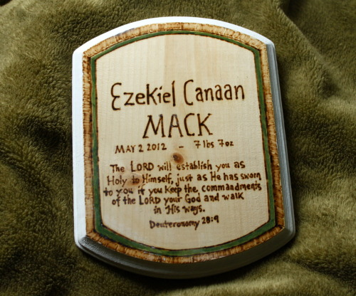 Baptismal Plaque for Ezekiel Canaan Mack