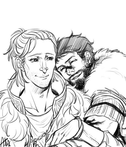 spicyshimmy:  frikadeller:  I think Anders and purple!Hawke are very adorable, and I don't draw them quite enough.  Sure, seeing Anders smile was a rare thing, but like Isabela—Varric collected treasure. Call it an old dwarven instinct for shiny things, bright glimmers in the darkness, a flash of gold tucked safe in stone and shadow. They were all hammering away at something in the end—whether it was the beaten silverite of a templar's shield or the steep walls of the Deep Roads—in the hopes they'd find something down there. Not silence. Not peace. The light at the end of the tunnel, or the affection on an apostate's face. In the hopes that one day, somewhere, they'd be the ancestors who made Thedas safe.  As rare as those smiles were, they couldn't afford to go unnoticed just like Blondie couldn't afford to buy new boots. Varric tucked them under his sleeves like a trump hand at Diamondback and didn't make any sudden movements so he wouldn't scare them away too soon. And he couldn't help but notice—all those soft features, the change that came over him, the magic spark lit like a spell between another man's fingers and his, were all because of Hawke, who forged through the deep and didn't let rock wraiths stand in his way, then climbed all the way to Hightown after just to prove it wasn't only digging himself deeper he could accomplish in one stubborn lifetime. 'I can't help but notice the way your fingers sparkle when you're near him, Blondie,' Varric said. The smile slipped from Anders's face, the sun going behind the clouds, the darkness Varric thought he'd left behind in an abandoned thaig. 'I'm going to ruin his life, Varric,' Anders said.  'Maybe,' Varric replied, 'but you're going to make it worth it, too.' And that kind of balance—what made no sense together going hand in hand, a city where freedom began from the blood on old chains—was what made for a hard life, a fine romance, a damn good story.