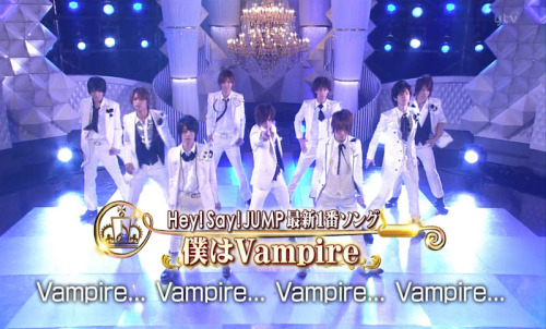 HSJ - Boku wa Vampire at Ichiban Song Show [2012.06.13] I like their white outfits!! they looks cool and mature~ ;) Yuto kakkoi~! (o^^o) I prefer to this outfits than the pinky sparkling one! ;p Like i said before, i dont mind with the pinky jacket bcos it looks ok with black shirt.. and Yuto looks more handsome in black! but, i dont like the sparkling glitters pant! :| And this white outfits looks simple and classy, i think! ^^ Btw, is anyone have the HQ avi or mp4 files for this video? ts file didnt work well on my PC :( avi file here! thank you, matsu-san~ *kisses