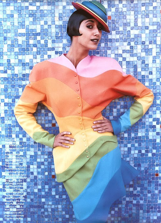 Gisele Zelauy in Thierry Mugler multi-color suit, 1980s