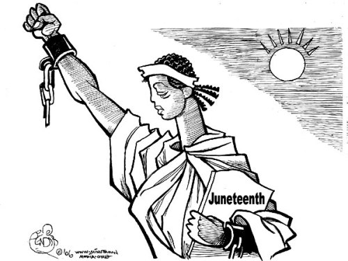 "fuckyeahmarxismleninism:  Happy Juneteenth! - June 19, 1865 - The struggle continues! Juneteenth, also known as Freedom Day or Emancipation Day, commemorates the announcement of the abolition of slavery in Texas on June 19, 1865.  Though the Emancipation Proclamation had been issued on September 22, 1862, with an effective date of January 1, 1863, it had minimal immediate effect on most slaves' day-to-day lives, particularly in Texas, which was almost entirely under Confederate control. Juneteenth commemorates June 19, 1865, the day Union General Gordon Granger and 2,000 federal troops arrived in Galveston, Texas, to take possession of the state and enforce the emancipation of its slaves. Legend has it while standing on the balcony of Galveston's Ashton Villa, Granger read the contents of ""General Order No. 3"": The people of Texas are informed that, in accordance with a proclamation from the Executive of the United States, all slaves are free. This involves an absolute equality of personal rights and rights of property between former masters and slaves, and the connection heretofore existing between them becomes that between employer and hired labor. The freedmen are advised to remain quietly at their present homes and work for wages. They are informed that they will not be allowed to collect at military posts and that they will not be supported in idleness either there or elsewhere. That day has since become known as Juneteenth, a name derived from a portmanteau of the words June and nineteenth. Former slaves in Galveston rejoiced in the streets with jubilant celebrations. Juneteenth celebrations began in Texas the following year.Across many parts of Texas, freed people pooled their funds to purchase land specifically for their communities' increasingly large Juneteenth gatherings — including Houston's Emancipation Park, Mexia's Booker T. Washington Park, and Emancipation Park in Austin. Juneteenth celebrations include a wide range of festivities, such as parades, street fairs, cookouts, or park parties and include such things as music and dancing or even contests of physical strength and intellect."