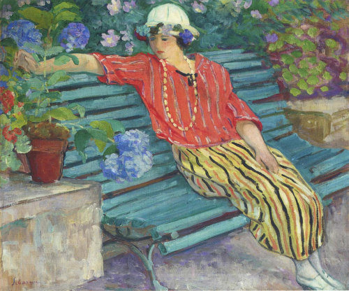Young Woman Seated with Hydrangeas, Henri Lebasque
