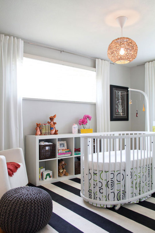 Source: Apartment Therapy Clean and contemporary. Such a chic babies room. Love the thick knotted poof! You can get it here :)