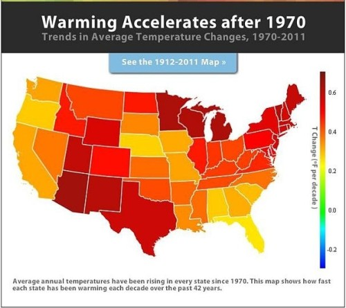 Which U.S. states are experiencing global warming the fastest? Arizona is heating up the fastest while Florida appears to be heating up the slowest. How has this unusually hot weather affected you? (Source: washingtonpost.com)