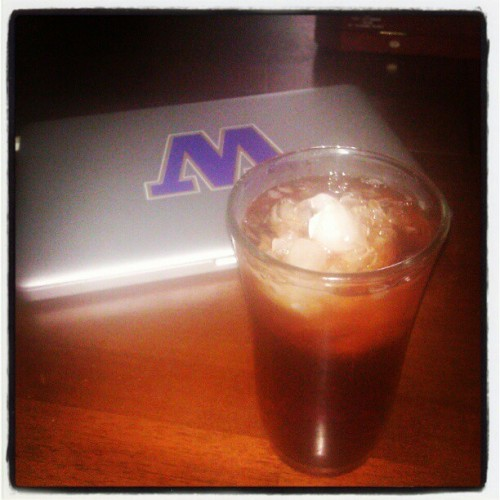 Logged out of FB & drinkin straight Henn chaser aka Brisk Raspberry tea! (Taken with Instagram)