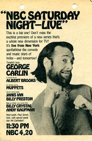 A poster advertisement for the very first episode of Saturday Night Live.