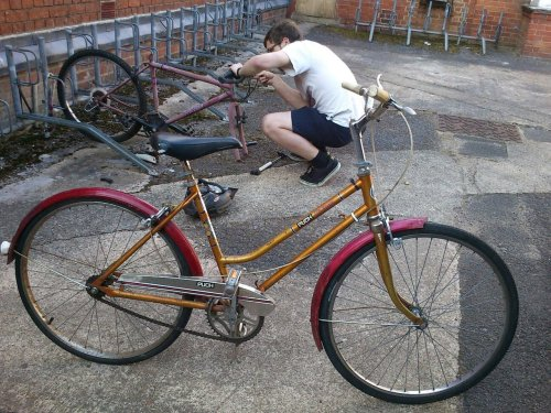 pandacrushtokyo:  I made a bike for Rosemary from all the old rusted derelicts in our halls. I'm proud of my work.  Note: You have no idea how much rust I scraped today.