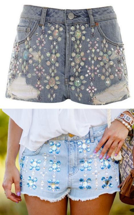 truebluemeandyou:  DIY Sequin Beaded Topshop Shorts Knockoff Tutorial. Top Photo: $70 Topshop Shorts here, Bottom Photo: DIY and small tutorial at Crimenes de la Moda here. *I know some of my friends dislike gluing things onto fabric - but wouldn't this be faster and still durable if hand washed?