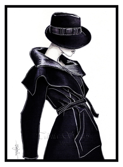 """Armani"" New fashion illustration. This one don´t come out like i wanted, i was watching Portugal playing (we win <3 ) and was soooooo hard to do the both things at the same time, because i was watching to much the TV and i was nervous with the game….Luckly the game was good, but the illustration not so good like i wanted hahaXDChina ink and white and silver gel pen.2012"