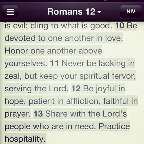 Romans 12:10-13. #iloveromans (Taken with Instagram)