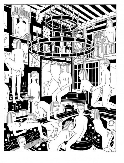 babezatron:  Norwegian artist Steingrim Veum and some wacky fun orgy scenes. Original Article