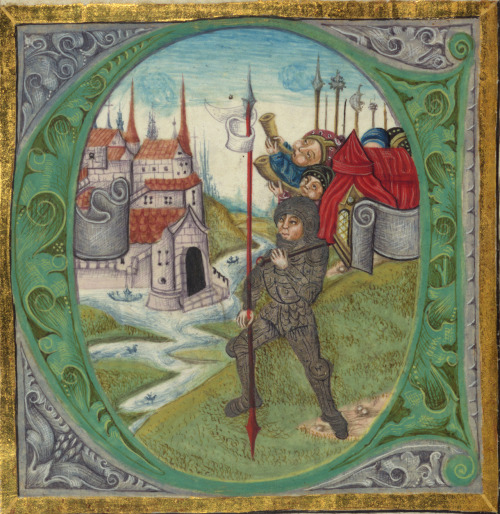 "jothelibrarian:  Pretty medieval manuscript of the day is a Joshua, leading the way at Jericho. It is one of many historiated initials from one of the Walters Museum's finest manuscripts. They provide the following description: ""This large-scale manuscript contains the first eight Old Testament books, Genesis through Ruth. The date of completion is given, February 2, 1507. The illumination of the Creation within a cosmographic scheme is based in part on the woodcut illustrations of Creation in the 1483 Koberger Bible, and the 1493 Nuremberg Chronicle by the same printer. Large historiated initials mark the beginning of each book. This large format form of the bible was revived in the low countries and Rhineland in the mid fifteenth century, and later in the century they were being made in south east Germany and Bohemia. The style of the miniatures in this manuscript is typical of upper Austrian miniature painting of the later fifteenth century.""  Image source: Walters Museum MS W.805. Creative Commons licensed via Flickr."