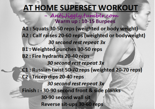 I made this today for a way to get good full body supersets when I don't feel like driving 30 minutes to the gym. All feedback is appreciated. PS. Don't forget to stretch!!