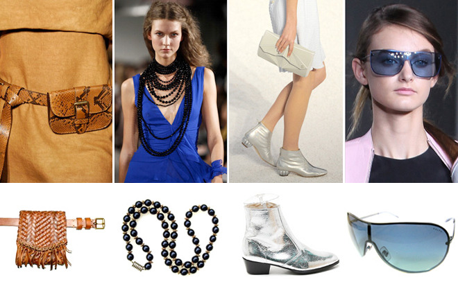 Runway to Real Life: Accessory Ideas Stolen from Spring's Shows  By Chris Frey Designers send plenty of accessories down the runway that are doubtless created purely for show. But then there are the pieces, like these, that merit some real world attention. In lieu of it-bags and wait-listed shoes, we bring you the accessories we felt were worthy of a sartorial second glance.  1. Pouch Belts as seen at Michael Kors. Dare we say fanny pack? Call it what you will; this utilitarian piece can look chic.  2. Jet Bead Necklaces as seen at Oscar de la Renta. Black jet bead necklaces played against bold color. When layered the impact is even stronger.   [MORE] 3.  Silver Ankle Boots as seen at Chanel. Substantial sandals or sleek booties are an unexpected seasonal choice. 4. Rimless Sunglasses as seen at Phillip Lim. We love the idea of busting out of our classic aviators rut with a sleek colored lens.   Photo from left: Spring 2012: Michael Kors (photo by Frazer Harrison/Getty Images for Mercedes-Benz Fashion Week), Oscar de la Renta (photo by Peter Michael Dills/Getty Images), Chanel (photo by Kristy Sparow/Getty Images), 3.1 Phillip Lim (photo by Chelsea Lauren/Getty Images)