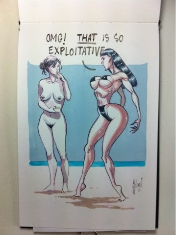 "comicbookwomen:  Guillem March  My first thought after seeing this was ""oh no, Rob Liefeld escaped artist jail again""."