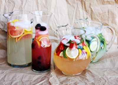 I love this idea for a party - preferably a summer garden party. Lemonade infused with different flavours. They look so delicious, lovely colours, flavours and in fab random jugs… it's a winner!
