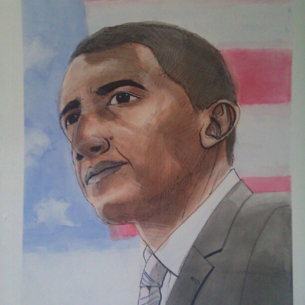 Obama painting for an art final.  Mixed feelings.  #art #painting #illustration #watercolor #sharpie #pencil #highlights ##watercolor #obama #flag #picoftheday #drawingoftheday #photooftheday #instagood #yeahamerica #fuckinrepublicans #tones (Taken with Instagram)