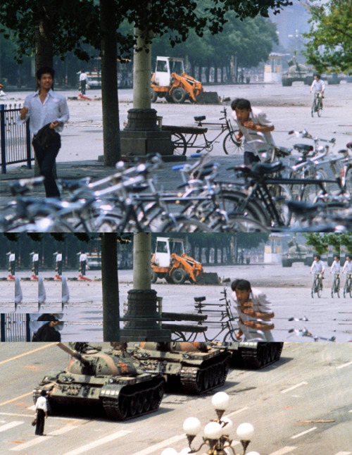 You've seen the iconic images of Tank Man.  But how about this angle? Look how the others run while he stands defiant.