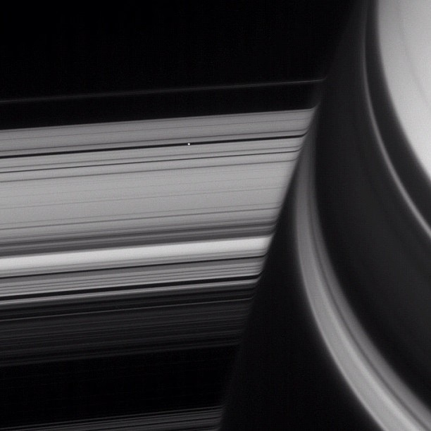 Saturn's small moon Pan carves out space in the rings. (Taken with Instagram)