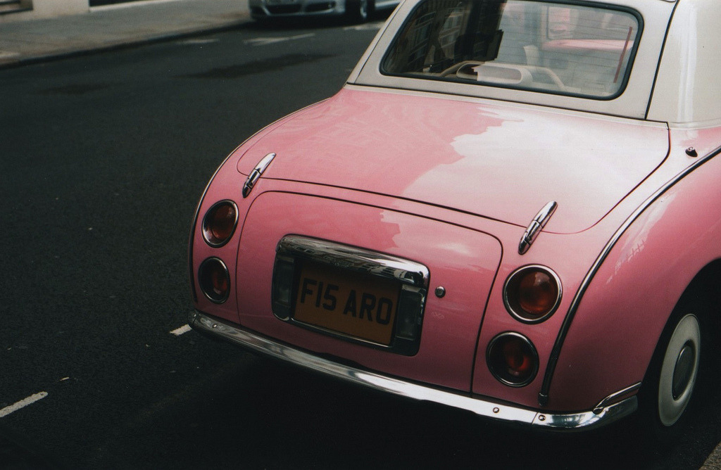 dream car, a pink 1991 nissan figaro