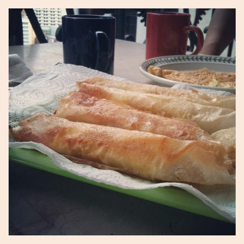 uzbekvette:  Early breakfast of banana turon and Nescafé (Taken with Instagram at Crown Tower)