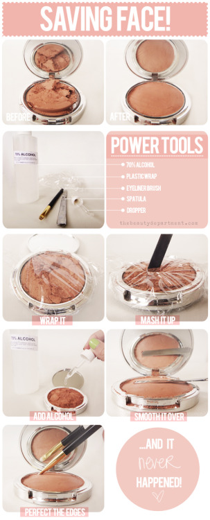 xbubble:  Reviving Beauty Compacts. The Beauty Department always puts together the best beauty tutorial/fix-it spreads. Here they provide the best remedy for broken powder and cream-based compacts.  Tools: 70% alcohol {it works 1000 times better for this than your typical rubbing alcohol from the drug store and can be purchased at your local art supply}, plastic wrap, spatula, dropper, synthetic eyeliner brush {I used this favorite go-to liner brush for its round edges and stiff short bristles}, Q-tip {optional if you're a perfectionist… you know who you are!} 1. WRAP IT UP: Completely cover the compact with the plastic wrap and make sure it adheres tightly to contain everything. 2. MASH IT UP: With your spatula, crush up the entire pan of shadow, not just the broken pieces. You essentially are turning the pressed powder back into loose powder. 3. ADD ALCOHOL: Remove the wrap and add at least 10 droppers full of alcohol. You can add a few droppers full at a time to see how much you need. I used a dozen. 4. SMOOTH IT OVER: Now you'll feel the powder has become sponge-like and very pliable, giving you the perfect opportunity to even it out smoothly with your spatula. 5. PERFECT THE EDGES: Use your eyeliner brush to smooth it out even further. Give it a few hours to completely dry and it's like it never happened! To make it extra pretty, clean up the perimeter with a Q-tip.  All photos and directions credit to The Beauty Department.