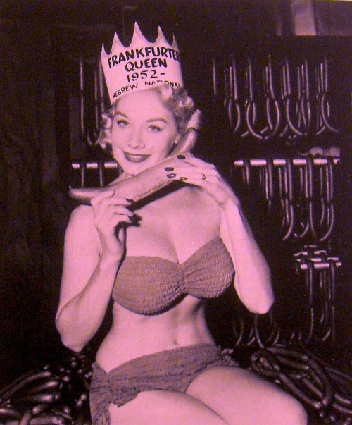 theniftyfifties:  The Hebrew National Frankfurter Queen, 1952.