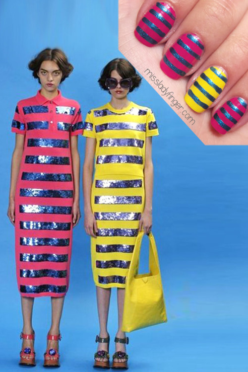 "MANICURE MUSE: Marc Jacobs Resort '13 If you were at all intimated by Marc Jacob's theatrical Fall '12 collection, take a deep sigh of relief. His taste of Spring is looking a little more upbeat and understandable. In fact, the key word for the Resort '13 collection is ""fun."" Inspired by Cindy Sherman's ""Clown Series,"" it features mix-scaled clashing prints in vibrant colors. While some of the looks still have a costumey feel, the sequined striped tees are super cute and are as retail-friendly as it gets. Above all, the micro floral dresses with the thirties-feel really capture my heart.  To emulate this look, I used Canary by Joe Fresh, Check Me Out by L'Oreal, and Royal by Love & Beauty.  To get these ladyfingers: 1. Paint 3-4 nails pink and 1-2 nails yellow (based on your preference) 2. Using a nail art brush, paint equidistant horizontal lines of shimmery blue 3. Top it off with Deborah Lippmann's Umbrella top coat (Photo: Fashionologie.com)"