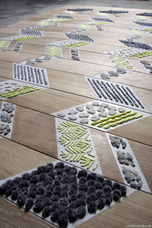 Wooden embroidered floor// Coralie Bonnet