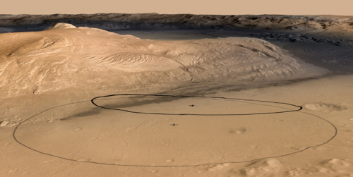 "NASA Mars Rover Team Aims for Landing Closer to Prime Science Site PASADENA, Calif. — NASA has narrowed the target for its most advanced Mars rover, Curiosity, which will land on the Red Planet in August. The car-sized rover will arrive closer to its ultimate destination for science operations, but also closer to the foot of a mountain slope that poses a landing hazard. ""We're trimming the distance we'll have to drive after landing by almost half,"" said Pete Theisinger, Mars Science Laboratory project manager at NASA's Jet Propulsion Laboratory in Pasadena, Calif. ""That could get us to the mountain months earlier."" It was possible to adjust landing plans because of increased confidence in precision landing technology aboard the Mars Science Laboratory spacecraft, which is carrying the Curiosity rover. That spacecraft can aim closer without hitting Mount Sharp at the center of Gale crater. Rock layers located in the mountain are the prime location for research with the rover. [Read more]"