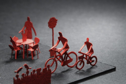imprecise:  These are everyday life scenes built into miniature paper models by Terada Mokei.