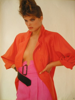 "reneetoftsimonsen:  Vogue Italia March 1984 ""Fucsia Arancio Corallo"" Model: Renée Simonsen ph: Albert Watson"