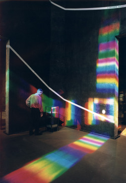 Spectrum of Time by Peter Erskine is a permanent rainbow sundial calendar installation. Hour and month lines painted on the walls and floor of the 40' X 40' X 40' industrial museum space mark the hours, summer and winter solstices, and the spring and autumn equinoxes with astronomical accuracy. A 30' X 30' cross of solar spectrum light powered by the rotation and tilt of the earth tells the time and date. On cloudy days a laser pointer driven by a solar tracking program fills in for the rainbow.