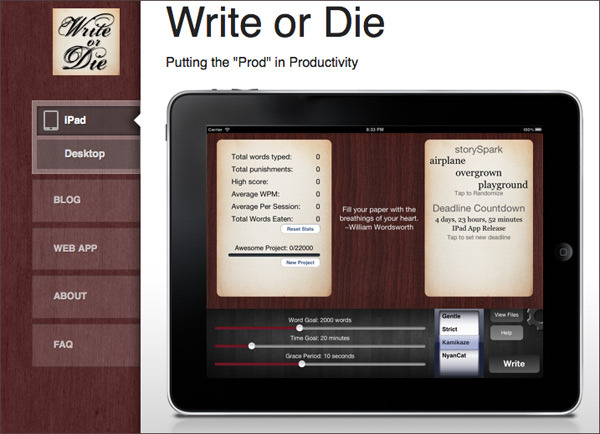 "Not writing? There's an app for that: Write or Die How the app works: Writers begin typing in the app's window. When the typing slows to a stop, there are consequences. The writer can set how severe those consequences will be. In ""gentle"" mode, a notice pops up with a kind reminder that it's time to start writing. In ""normal"" mode, the app begins to emit an unpleasant sound, which only stops once the typing begins again. In ""kamikaze"" mode, the app is set to destroy: when the writing has stopped for too long, the words begin to erase themselves. There is also a ""nyan cat"" mode, turning an Internet meme into a destructive force. Read more: LA Times"
