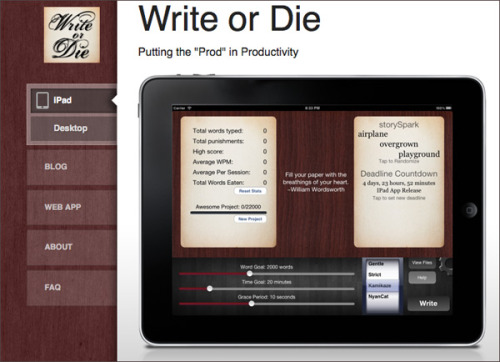 "brooklynmutt:  Not writing? There's an app for that: Write or Die How the app works: Writers begin typing in the app's window. When the typing slows to a stop, there are consequences. The writer can set how severe those consequences will be. In ""gentle"" mode, a notice pops up with a kind reminder that it's time to start writing. In ""normal"" mode, the app begins to emit an unpleasant sound, which only stops once the typing begins again. In ""kamikaze"" mode, the app is set to destroy: when the writing has stopped for too long, the words begin to erase themselves. There is also a ""nyan cat"" mode, turning an Internet meme into a destructive force. Read more: LA Times"