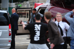 Yesterday Jay-Z's fans in Manchester stormed the helicopter he arrived at the Watch the Throne tour stop in.