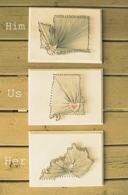 "DIY Heart String Art ""Him, Us, Her"" tutorial from Southern Belle Soul here. *More string art tutorials and projects here."