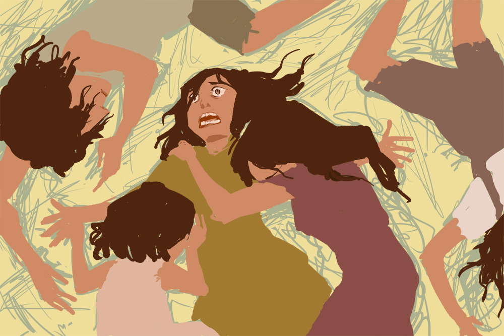 "Color exercise WIP of ""Isbani and her Sisters"" from the ""Five Refugees/Nhoor"" idea. :C 8C"