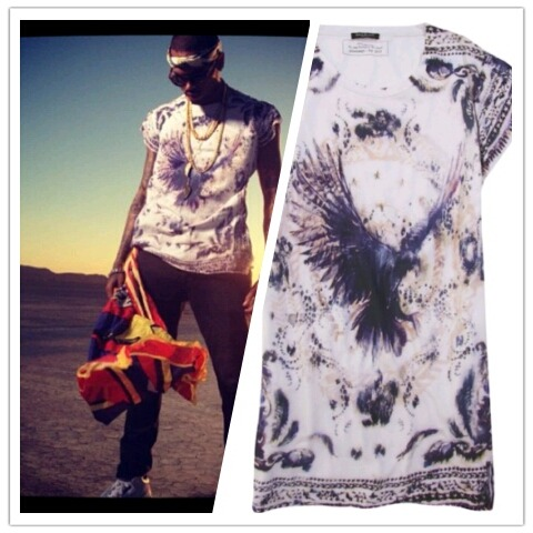 Chris also wore a Balmain sleeveless eagle print shirt in his new video, Don't Wake Me Up.